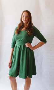 emerald holiday dress womens green party dress cotton jersey 3 4