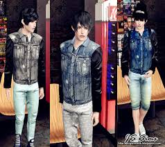 sims 3 men custom content sims 3 male clothes leather sleeved denim jacket custom content