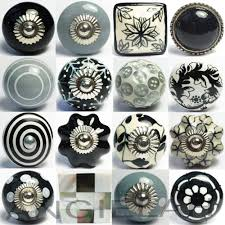 black grey ceramic knobs vintage shabby chic door handles cupboard