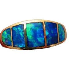 blue gem rings images Inlay opal gold ring wide band blue green gems flashopal jpg