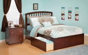Queen Size Platform Bed - bedroom bedroom with brown wooden queen size platform bed with