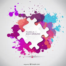 puzzle pieces and paint splashes background vector free download