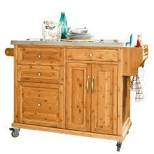 sobuy bamboo kitchen cabinet kitchen storage trolley cart with