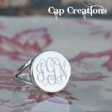 Monogram Initial Ring Sterling Silver Round Monogram Ring Cap106 Cap Creations