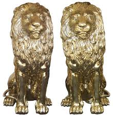 gold lion statues regal bronze lion statues