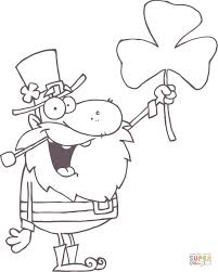 happy leprechaun with shamrock coloring page free printable