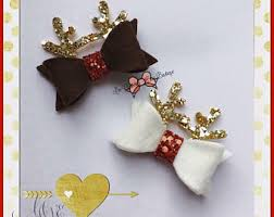 christmas hair bows reindeer hair clip christmas hair clip christmas bow party wear