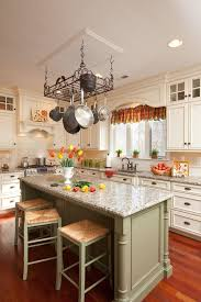 iron pot racks kitchen farmhouse with chandelier rustic apron