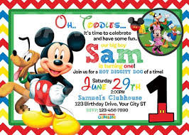 Mickey Mouse 1st Birthday Card Mickey Mouse Clubhouse 1st Birthday Invitations Marialonghi Com