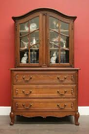 antique french oak 2 height 4 door bookcase china cabinet library