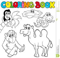 Coloring Book With Tropic Animals 3 Stock Vector Illustration Colouring Book
