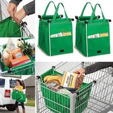 Reusable Shopping Bags 4x Reusable Shopping Grab Bags Eco Foldable Trolley Tote Grocery