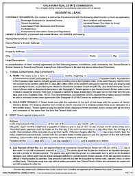 Rental House Lease Agreement Template Free Oklahoma Standard Residential Lease Agreement Pdf Template