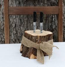 rustic wedding decor pen or marker holder tree stump 2 holes