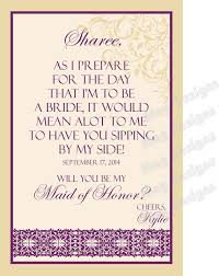 asking of honor poem items similar to bridesmaid modern wine label bridal party gifts