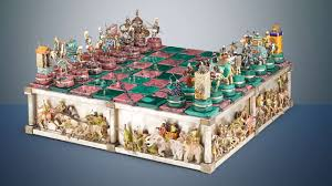 elaborate chess set depicts the famous battle of issus style