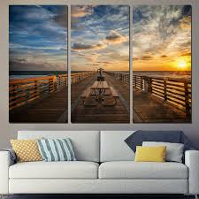 direct selling home decor direct selling new 3 panels canvas art clouds sunset boardwalk home