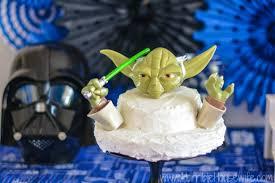 star wars cake diy using yoda and darth vader pumpkin push ins