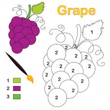 grape color by number coloring page number activities simple