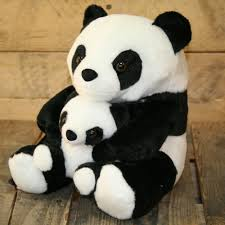 adorable black and white panda doorstop with baby decorative