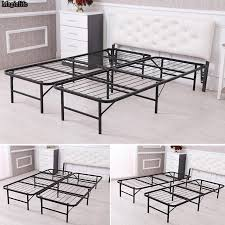Foldable Twin Bed Bed Simple Base Bi Fold Bed Frame King Size Iron Mattress Foundation