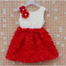 fabulous red and white rose flower party dress for baby girls