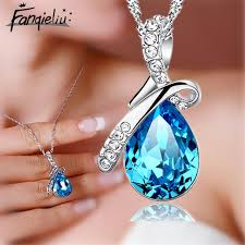 crystal drop pendant necklace images Fanqieliu blue crystal jewelry silver necklace for women water jpg