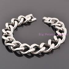 stainless steel bracelet bangle images Exquisite workmanship silver cuban link chain 15mm stainless steel jpg