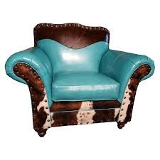Turquoise Leather Sofa Turquoise Leather Cowhide Club Chair
