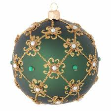 bauble in green and gold blown glass 100mm sales