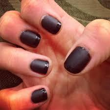 dark grey matte nails with shiny french tips nail polish