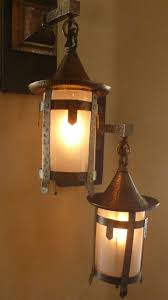 Metal Sconces Pair Of Arts And Crafts Sconces With Glass Cylinder Shades From