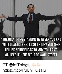Wolf Of Wallstreet Meme - the only thing standing between you and your goalis the bullshit