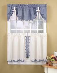 Blue Kitchen Curtains Tabitha 3 Piece Kitchen Curtain Tier Set Curtainworks Com