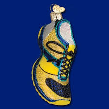 world glass ornament running shoe