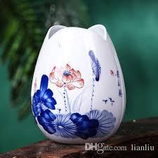 Blue Flower Vases Vintage Home Decor Traditional Chinese Ceramic Flower Vases Blue