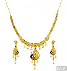 gold necklace earring sets images 22k fancy peacock necklace set jewellery pinterest peacocks jpg