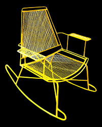 mid century metal mesh patio rocking chair chairish