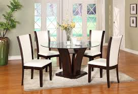 Glass Top Pedestal Dining Room Tables by Crown Mark Camelia Espresso 5 Piece Round Table And Chair Set