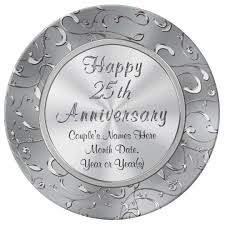 25th anniversary plates personalized personalized 25th anniversary plate porcelain dinner plate