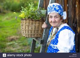 elderly woman clothes slavic happy elderly woman in ethnic clothes outdoor in the