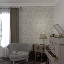 chambre toile de jouy intissé toile de jouy coloris blanc papier peint 4murs