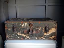 Home Decor Storage Vintage Steamer Trunk 1930s Storage Trunk Paper Lined