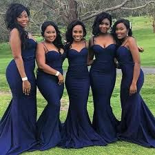 blue bridesmaid dresses spaghetti straps mermaid navy blue bridesmaid dress modsele