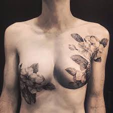 Tattoos In Between The Breast Artists Cover Breast Cancer Survivors Scars With Beautiful
