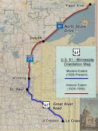map us hwy u s 61 minnesota route history