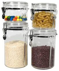 4 piece acrylic canister set with 4 free spoons by oggi