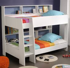white wooden bunk bed with wooden shelves and white wooden ladder
