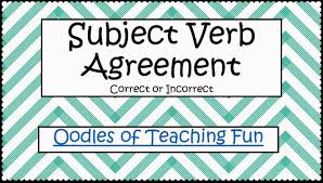 oodles of teaching fun subject verb agreement practice freebie