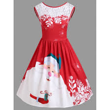wholesale christmas lace insert santa claus print party dress